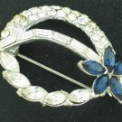 Sapphire Blue and Clear Rhinestone Brooch Bro2067