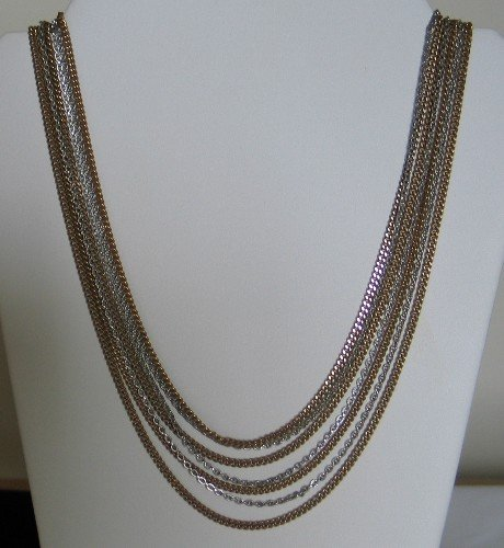 Crown Trifari Silver and Gold Tone Multi Chain Necklace nec1092
