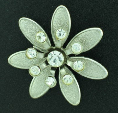 Stamped Silver Tone Daisy Style Flower with Clear Rhinestones Bro2130