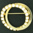 Milk Glass Cabochon and Gold Tone Dual Circle Brooch Bro2109