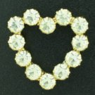 Clear Rhinestone Heart Shaped Brooch