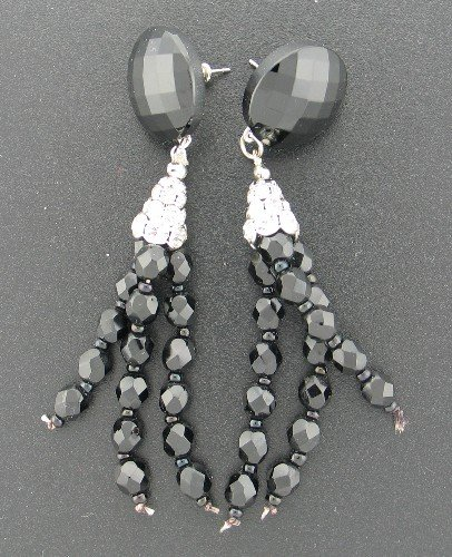 French Jet and Rhinestone Dangle Earrings Ear2025