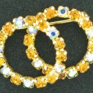 Amber and Aurora Borealis Double Circle Brooch Bro2123