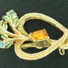Heart and Flower Brooch with Emerald Cut Topaz Rhinestone Bro2177