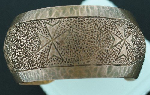 Malta Sterling Copper Coated Wide Stamped Cuff Bracelet Bra1009bc
