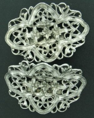 Musi Ornate Silver Tone Flowered Shoe Clips Mis2004