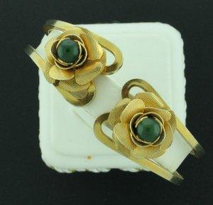 Vintage Clamper Bracelet with Roses and Faux Jade Bra2013