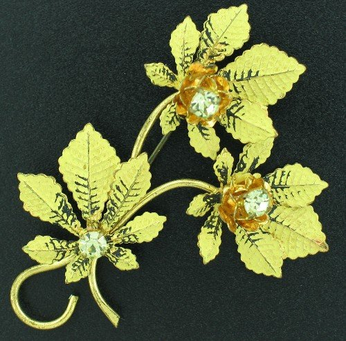 Vintage Rhinestone Maple Leaf Brooch Bro2047