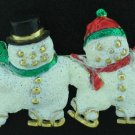 Signed AJC Skating Snowmen Brooch Bro2054