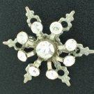 Vintage Rhinestone and Silver Tone Snowflake Brooch Bro2078