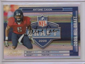 2008 Prestige Antoine Cason NFL Draft Auto #83/100