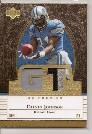 2007 UD Premier Calvin Johnson Dual 3 clr Patch RC #75/75