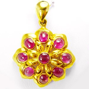 18K Yellow Gold Pendant with Natural Pink Red Ruby