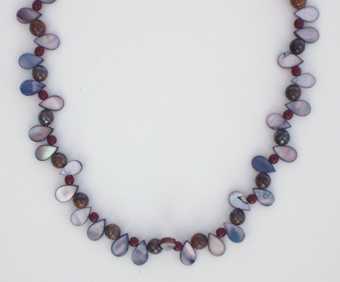 Dragon Tears Mother of Pearl and Tiger Iron Necklace