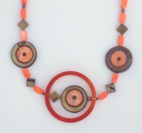 Mother of Pearl Abstract Necklace in Orange and Brown