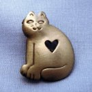 Kitty Cat w/Heart Cutout Lapel Pin