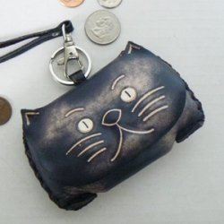 Leather Kitty Cat Coin Purse - Black