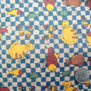 1 Yard - Sewing Fabric - Cat Fish Mice Blue