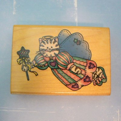 Comotion Country Cat Angel Wood Mounted Rubber Stamp