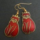 Cloisonne  Enamel Kitty Cat Dangle Earrings - Cranberry Red