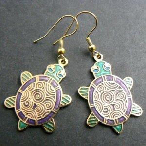 Cloisonne Enamel Turtle Earrings - Green & Purple