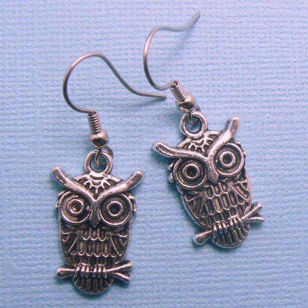 Wise Owl Earrings - Silver Plated