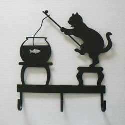 Fishing Cat Metal Key Rack