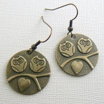 Hoo Loves You' Round Owl Earrings - Brass