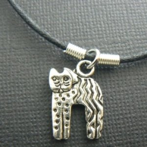 Primitive Arched Cat Necklace on Adjustible Cord - Silver Plated