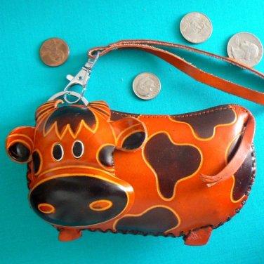 Leather Cow Wristlet Change / Coin Purse / Brown / Tan