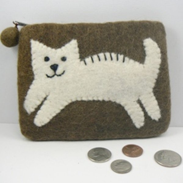 Brown Felt Coin Change Purse w/ Cream Kitty Cat