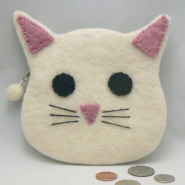 White Kitty Cat Face Felt Coin Change Purse