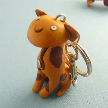 Leather Tiger Kitty Cat Key Chain Ring Keychain
