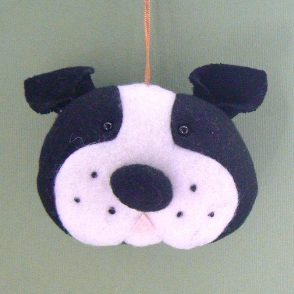 Boston Terrier Dog Head Christmas Tree Ornament