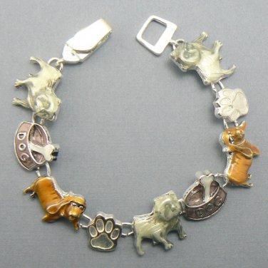 Colorful Dog Themed Magnetic Silver Bracelet