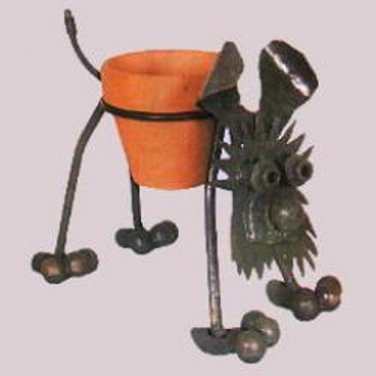 Nuts n Bolts Metal Puppy Dog Plant Holder Planter