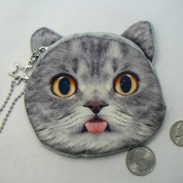 Funny Kitty Cat Face Coin Change Purse