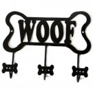 Black Metal Dog Bone Woof Leash Holder Wall Rack