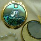 Two Kitty Cat Mother of Pearl and Shell Compact - GP