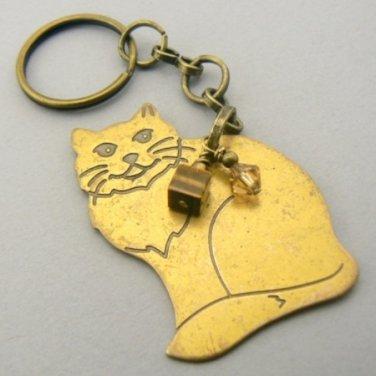 Vintage Sitting Brass Cat Key Chain Ring Keychain
