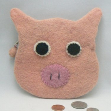 Pink Pig Face Felted Coin Change Purse