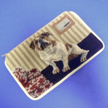 English Bulldog Dog Needlepoint Cosmetic Bag Case