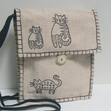 Whimsical Kiity Cats Shoulder Bag Purse � Cream
