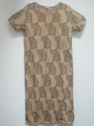 Tribal Cats Printed Mustard Dress - SML