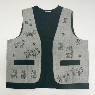 Whimsical Cats Woven Vest � Gray - MED