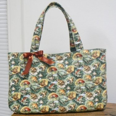 Frogs on Lily Pads Green Fabric Tote