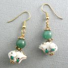 Frog Porcelain & Green Aventurine Beaded Earrings