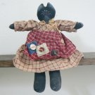 Black Kitty Cat Country Girl Doll