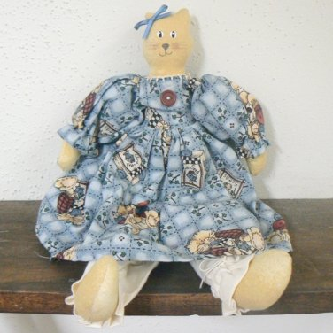 Pretty Kitty Handmade Cat Doll in Blue Dress