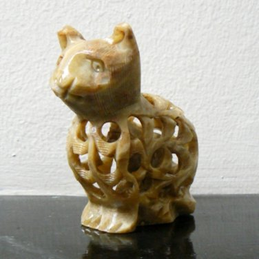 Soap Stone Kitty Cat Figurine